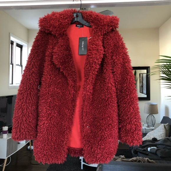 Jackets & Blazers - Faux fur teddy coat - red